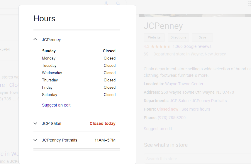 GMB COVID-19 JC Pennys Hours Update